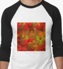 psychedelic square pixel pattern abstract background in red orange green Men's Baseball ¾ T-Shirt