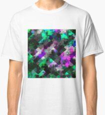 psychedelic square pixel pattern abstract background in green pink blue Classic T-Shirt