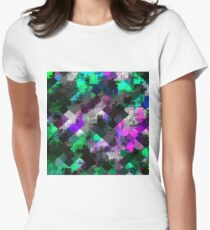 psychedelic square pixel pattern abstract background in green pink blue Women's Fitted T-Shirt