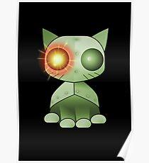 Robokitty Robot Cat Green Poster