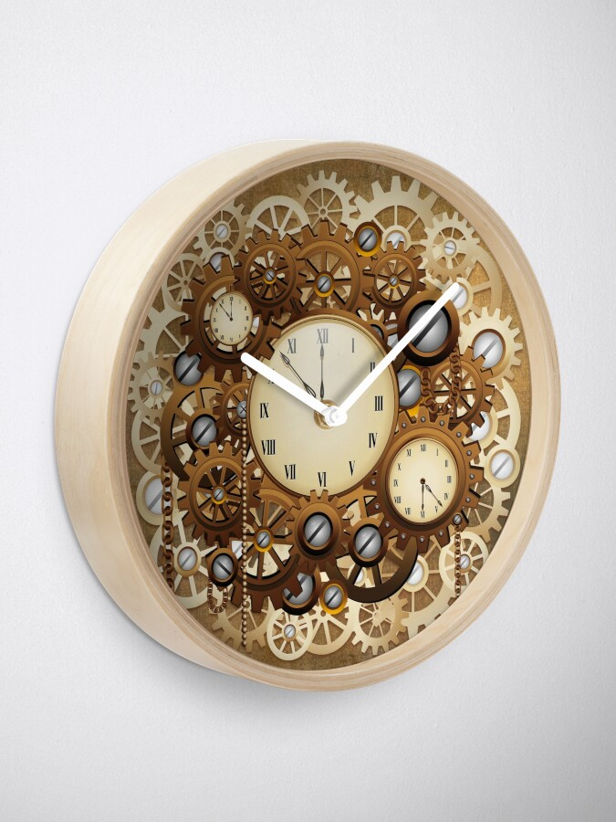 Alternate view of Steampunk Clocks and Gears Vintage Style  Clock