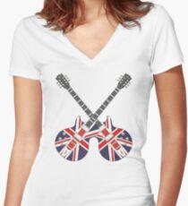 British Mod Union Jack Guitars Women's Fitted V-Neck T-Shirt