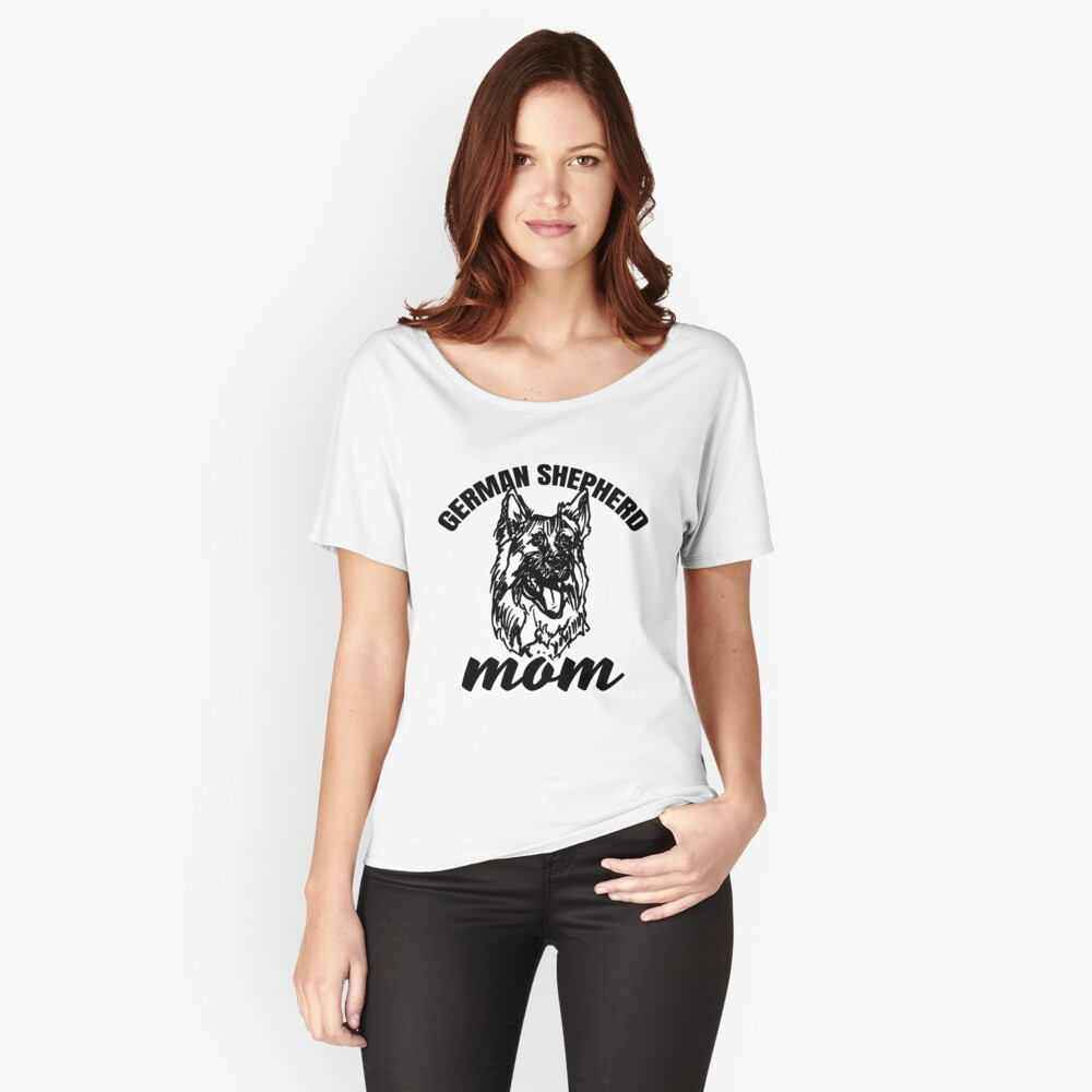 German Shepherd Mom with German Shepherd Illustration/Art Relaxed Fit T-Shirt