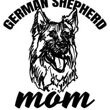 German Shepherd Mom with German Shepherd Illustration/Art by sketchNkustom