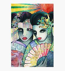 Geisha Girls Holding a Fan Photographic Print