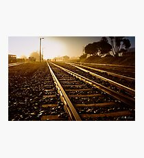 Railway Tracks at sunrise and twilight sky Photographic Print