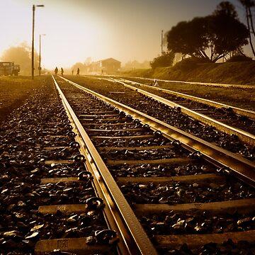 Railway Tracks at sunrise and twilight sky by lightwanderer