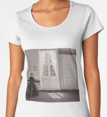 A Room in the Artist's Home by Vilhelm Hammershoi Women's Premium T-Shirt