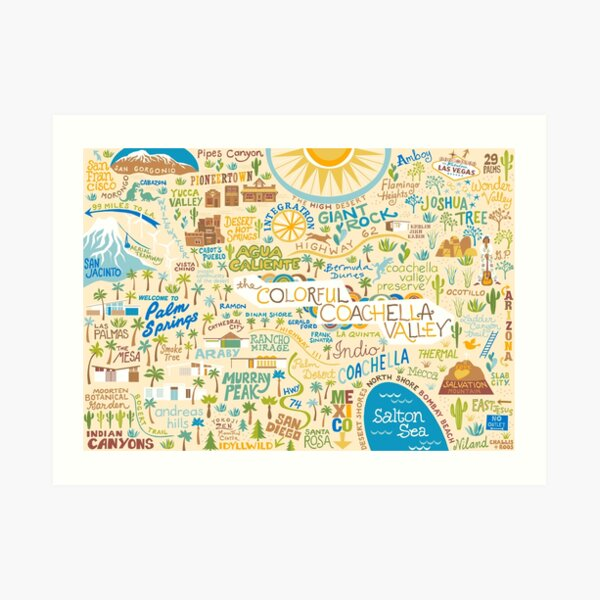 Coachella Valley Illustrated Map - Palm Springs, Joshua Tree Art Print