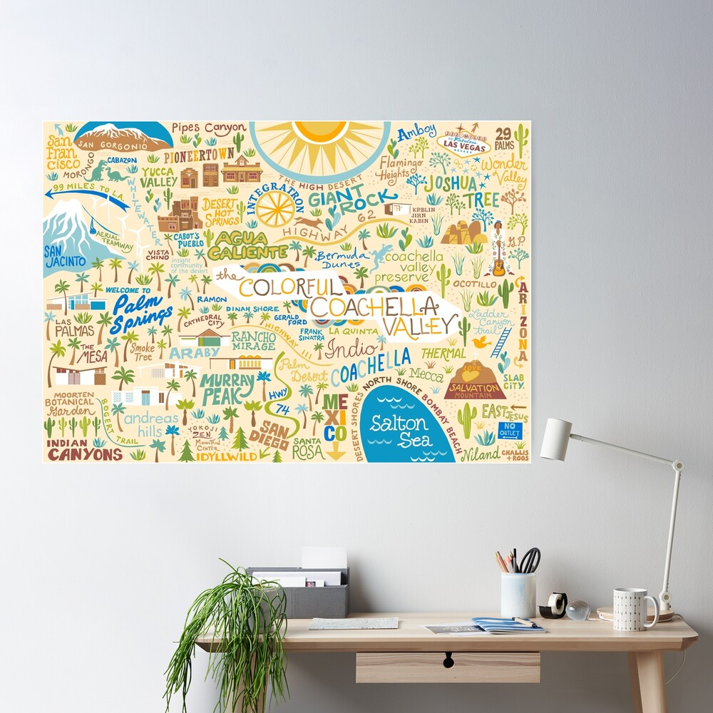 Coachella Valley Illustrated Map - Palm Springs, Joshua Tree Poster