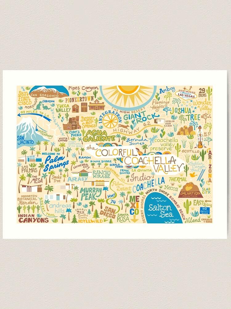 Alternate view of Coachella Valley Illustrated Map - Palm Springs, Joshua Tree Art Print