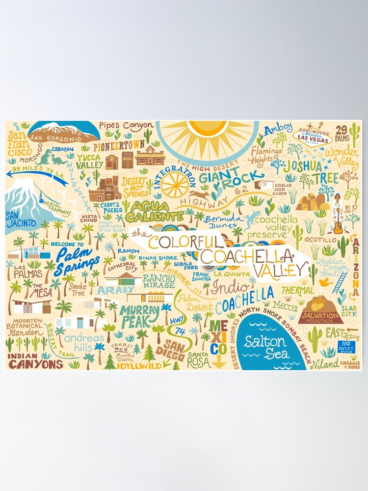 Alternate view of Coachella Valley Illustrated Map - Palm Springs, Joshua Tree Poster