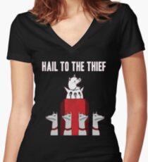 Hail to the Thief Women's Fitted V-Neck T-Shirt