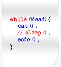 While Dead, Eat, Sleep & Code. Poster