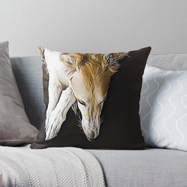 Stunning Borzoi Head Throw Pillow