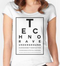 Techno Rave Visual Test #1 Tailliertes Rundhals-Shirt