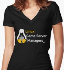 Linux Game Server Managers Logo White Women's Fitted V-Neck T-Shirt