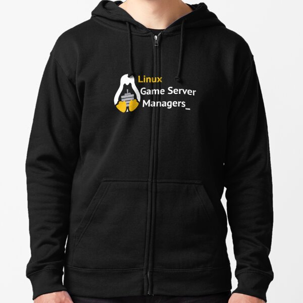Linux Game Server Managers Logo White Zipped Hoodie