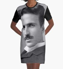 Nikola Tesla Portrait Graphic T-Shirt Dress
