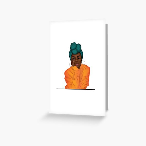 """Mmmphmmm"" Black Girl Thinking Greeting Card"