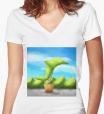 Topiary Dolphin  Women's Fitted V-Neck T-Shirt