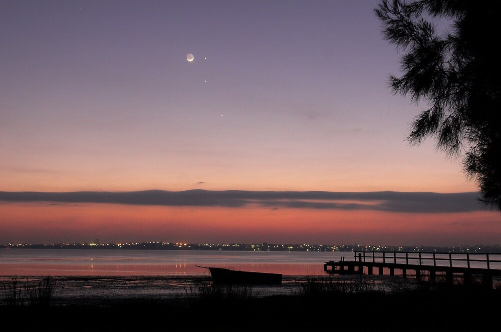 Conjunction at Dawn - Moon, Mercury, Jupiter and Mars 6 by Mike Salway