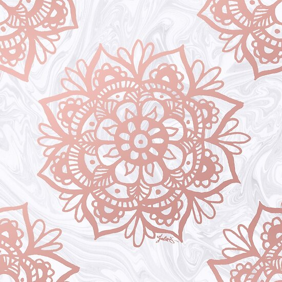 Quot Rose Gold Mandalas On Marble Quot Poster By Julieerindesign