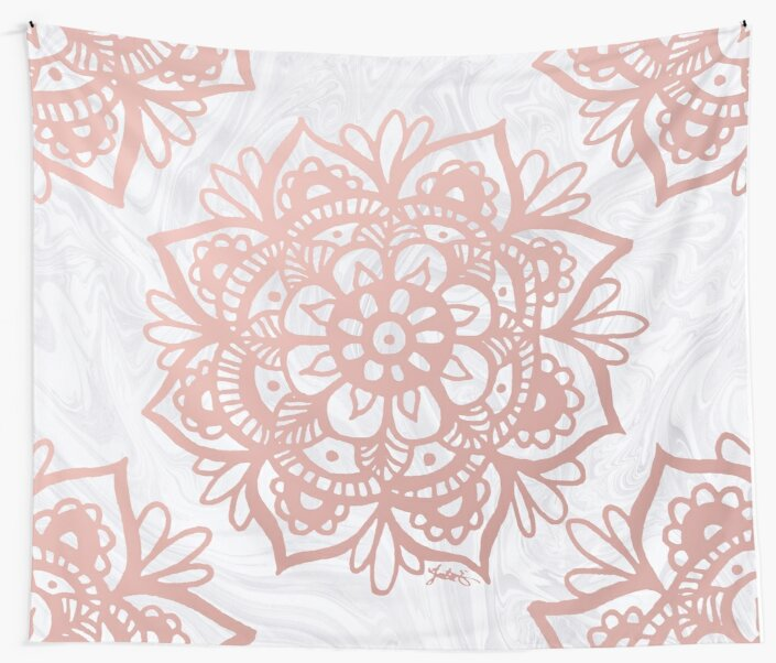 Quot Rose Gold Mandalas On Marble Quot Wall Tapestries By