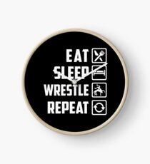 Eat Sleep Wrestle Repeat T-Shirt Clock