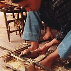 Wood carver, Moroccan souk by indiafrank