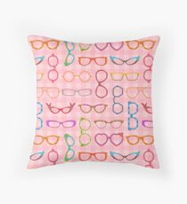Eyeglasses Retro Modern Hipster Pink Gingham Ver 2 Throw Pillow