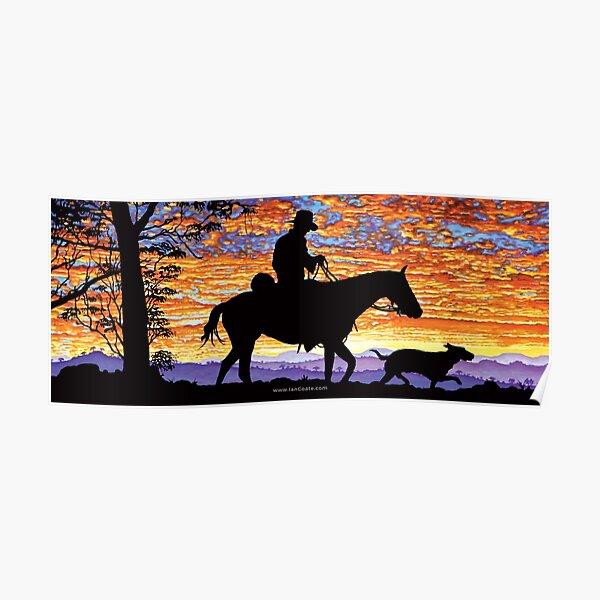 Australian Sunset Drover Poster