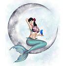 Pin-up Mermaid on the Moon, Hawaiin Mermaid by Alison Spokes