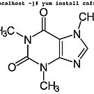root yum install caffeine -y - Caffeine molecule with Linux love. by ngwoosh
