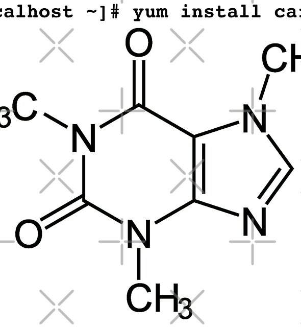 root yum install caffeine -y - Caffeine molecule with Linux love. by ngwoosh