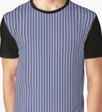 Grey and Blue Vertical Stripes Graphic T-Shirt