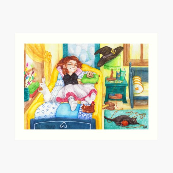 Relaxed Easter Witch and Her Pets Art Print