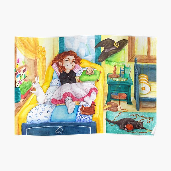 Relaxed Easter Witch and Her Pets Poster