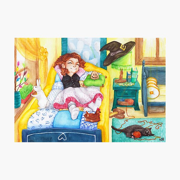 Relaxed Easter Witch and Her Pets Photographic Print