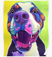 Happy Pit Bull - Smiling Colorful Pitbull Dog Poster