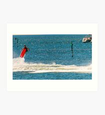 A Wake-boarder in the middle of a manoeuvre Art Print