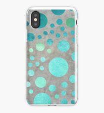 Turquoise Metallic Dots Pattern on Concrete Texture  iPhone Case