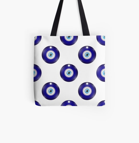 Glass Evil Eye Symbol Seamless Pattern on White Background. Turkish Traditional Amulet. Nazar Protection Talisman. Blue Magic Souvenir All Over Print Tote Bag