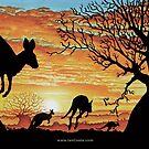 Australian Sunset Kangaroos by iancoate