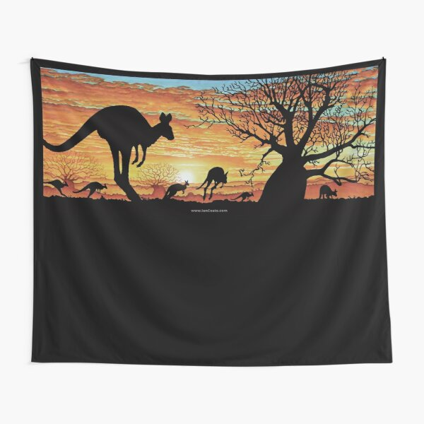 Australian Sunset Kangaroos Tapestry