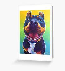 Happy Pit Bull - Slobbery Smiling Colorful Pitbull Dog Greeting Card