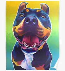 Happy Pit Bull - Slobbery Smiling Colorful Pitbull Dog Poster