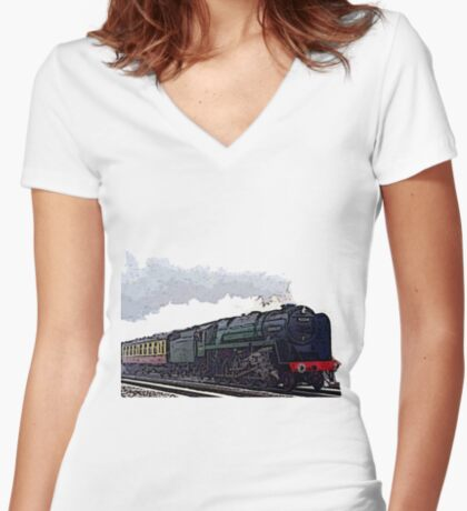 Leicester City 92214 steam train  Women's Fitted V-Neck T-Shirt