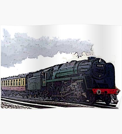 Leicester City 92214 steam train  Poster