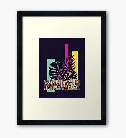 Neon Tropical #redbubble #tropical Framed Print